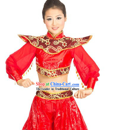 Traditional Chinese Play the Drum Uniform for Women