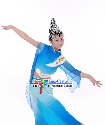 Blue Festival Celebration Stage Performance Fan Dance Costume and Headwear for Women