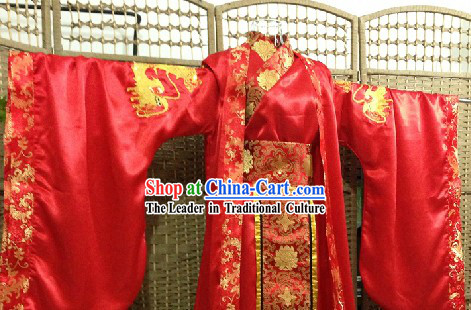 Traditional Chinese Dragon Wedding Attire and Hair Accessories Complete Set for Bridegroom