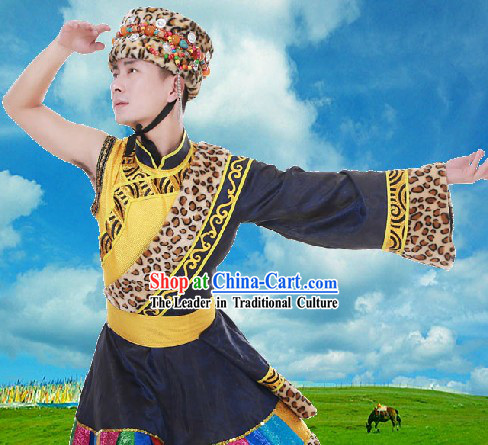 Ancient Chinese Tibetan Dance Costumes and Hat for Men