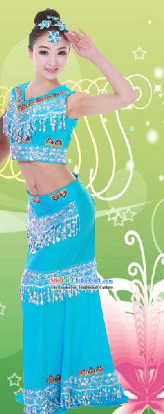 Traditional Chinese Fish Tail Dance Costumes and Headpieces for Women