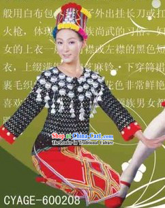 Traditional Chinese Jingpo Minority Dresses and Hat Complete Set for Women