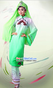 Traditional Chinese Hui Dance Dresses and Hat Complete Set for Women