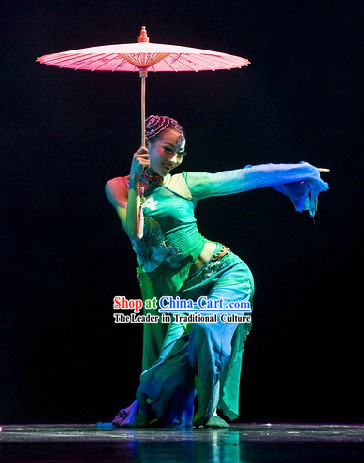 Green Chinese Classical Dance Costumes and Hair Accessories for Women