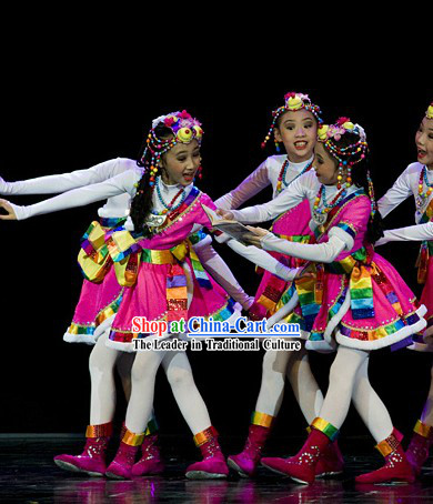 Stage Performance Tibetan Dance Costumes and Headwear Complete Set for Kids