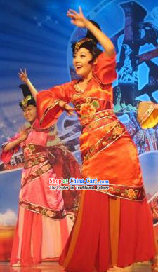 Stage Performance Classical Dancing Costume and Headwear Complete Set for Women