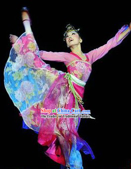 Traditional Chinese Classical Dancing Costumes and Headpieces Complete Set for Women