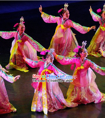 Traditional Koren Dance Costumes and Headpieces Complete Set for Women
