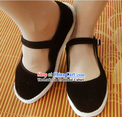 All Handmade Black Chinese Thick Sole Cotton Shoes
