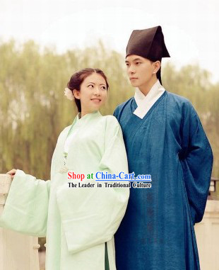 Traditional Chinese Song Dynasty Couple Clothes Complete Set for Men and Women