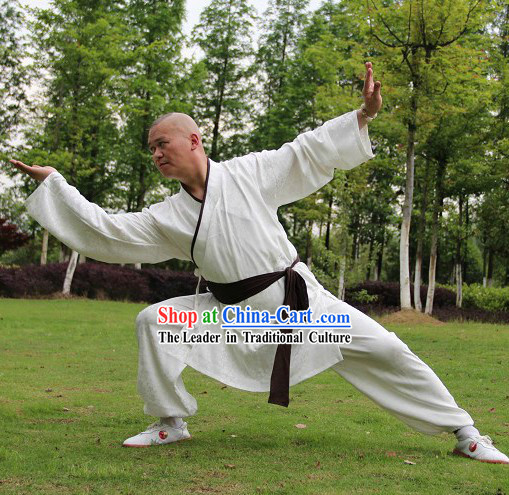 White Traditional Ancient Style Chinese Kung Fu Cotton Uniform for Men