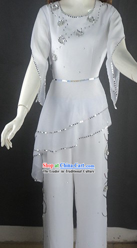 Pure White Tailored-made Dance Costumes and Headgear for Women