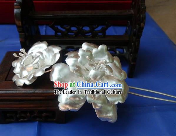 Traditional Chinese Imperial Silver Flower Hairpin