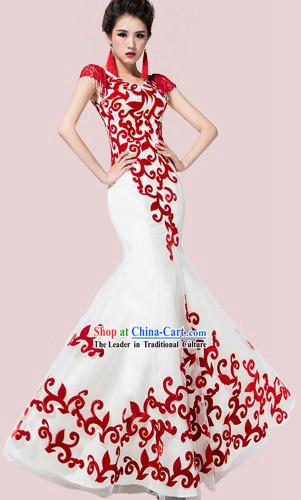 Long Custom Made Chinese Modern Wedding Evening Dress,Bohemian Beach Flowy Wedding Dress