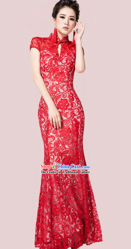 Long Custom-made Chinese Modern Lace Wedding Cheongsam Dress