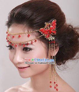 Chinese Shinning Red Butterfly Wedding Hair Accessories
