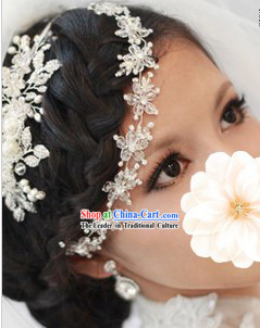 Chinese Shinning White Lace Wedding Forehead Accessories