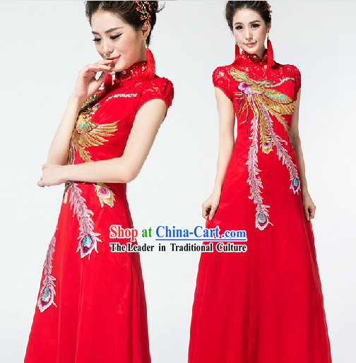 Red Long Chinese Wedding Cheongsam with Phoenix Embroidery