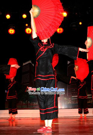 Black Traditional Chinese Fan Dance Costume for Women