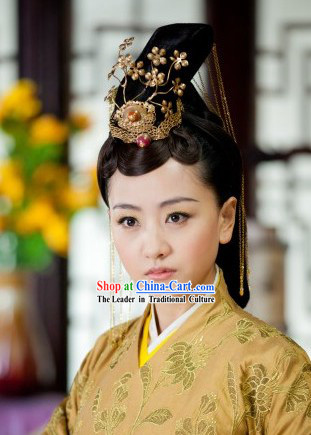 Ancient Chinese Imperial Palace Royal Official Hair Accessories and Wig Complete Set