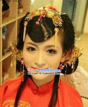 Handmade Traditional Chinese Wedding Flower Bridal Hair Accessories Complete Set