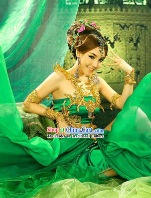 Ancient Chinese Green Yang Yuhuan Costumes and Headdress Complete Set