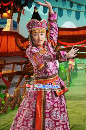 Ancient Mongolian Princess Clothing and Headwear Complete Set for Women