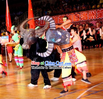 Traditional Chinese Cow Dance Costumes Complete Set