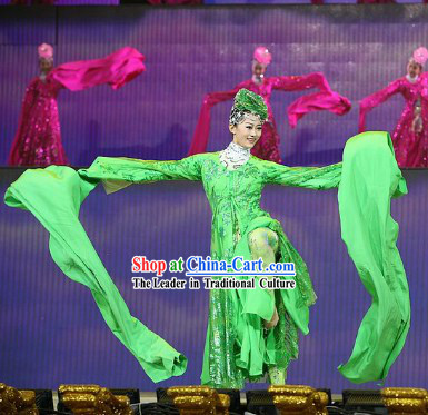 Traditional Chinese Adult Long Sleeve Dance Dress and Headwear Complete Set