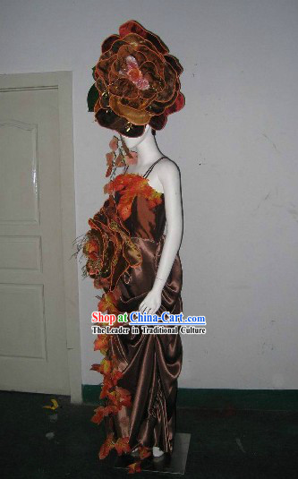 Forest Empress Stage Performance Dance Costumes and Headwear Complete Set
