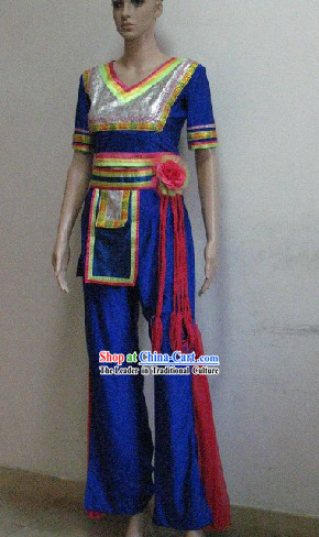 China Ethnic Costume and Headdress Complete Set