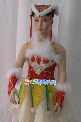 China Knot Stage Performance Dance Costume and Headdress Complete Set for Kids