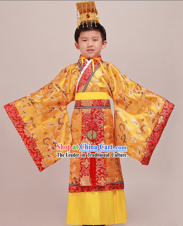 Ancient Chinese Emperor Costumes and Crown Complete Set for Children