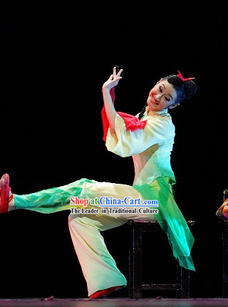 Stage Performance Silk Fan Dance Costumes Complete Set for Women