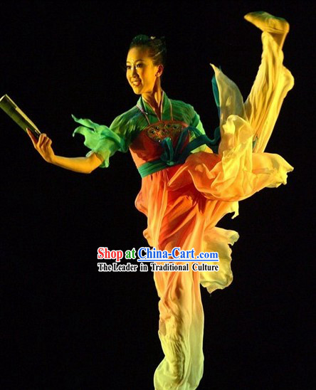 Chinese Classical Silk Dance Costumes Complete Set for Women