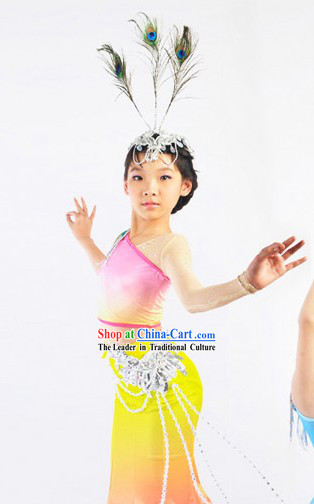 China Tai Ethnic Group Dance Costumes and Headwear Complete Set for Children