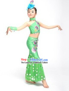 Chinese Dai Ethnic Group Dance Costumes and Headwear Complete Set for Children