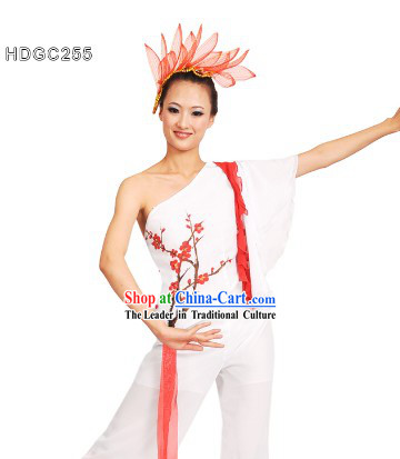 Winter Plum Blossom La Mei Dance Costumes and Headdress Complete Set for Women