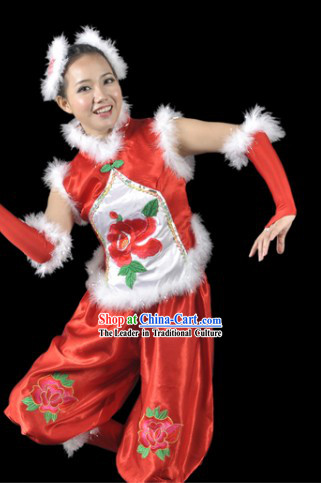 Chinese New Year Clothes Costume and Headdress Complete Set for Women