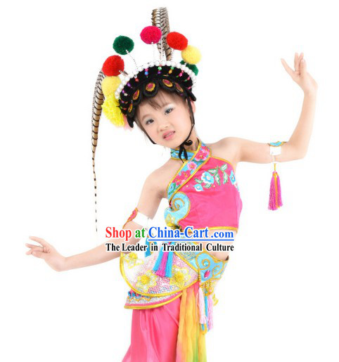 Ancient Chinese Beijing Opera Dances Costume and Headdress Complete Set for Children