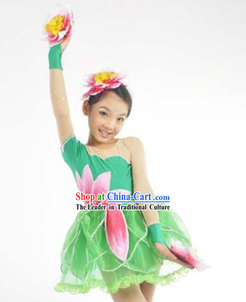Chinese Lotus Dance Costumes and Headwear Complete Set for Kids