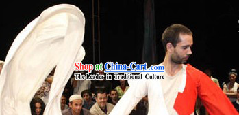 White and Red Shuixiu Fan Dance Costumes