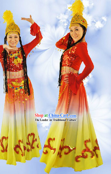 Traditional Chinese Xinjiang Dance Uniform and Hat Complete Set for Women