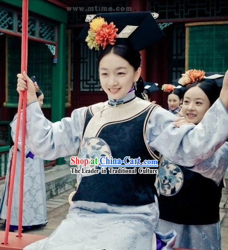 Qing Dynasty Imperial Palace Maid Outfit and Headwear for Women