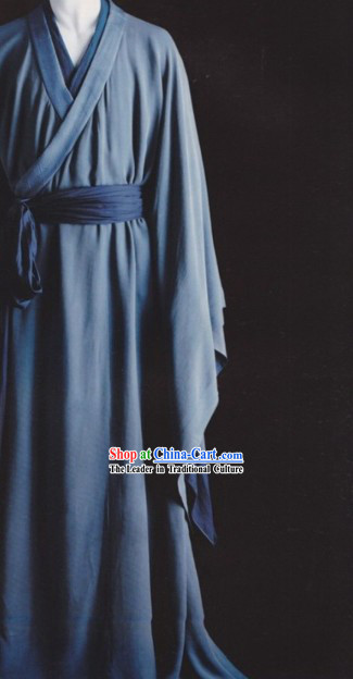 Blue Traditional Ancient Chinese Hanfu Clothing for Men and Women