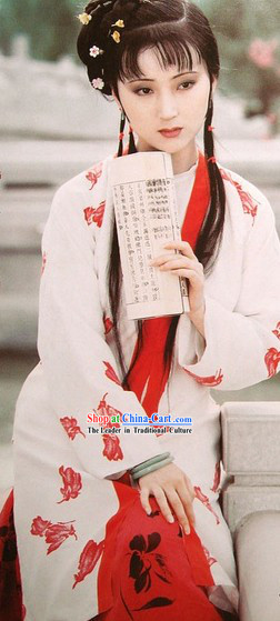 A Dream in Red Mansions Lin Daiyu Costume and Hair Accessories Complete Set