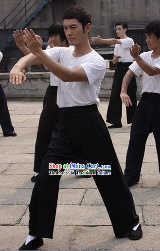 Yip Man Ye Wen White Kung Fu Tshirt Black Pants and Black Shoes Complete Set