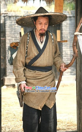 Ancient Chinese Doctor Costume and Bamboo Hat for Men