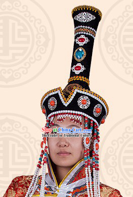 Traditional Chinese Stage Performance Ethnic Mongolian Hat for Women