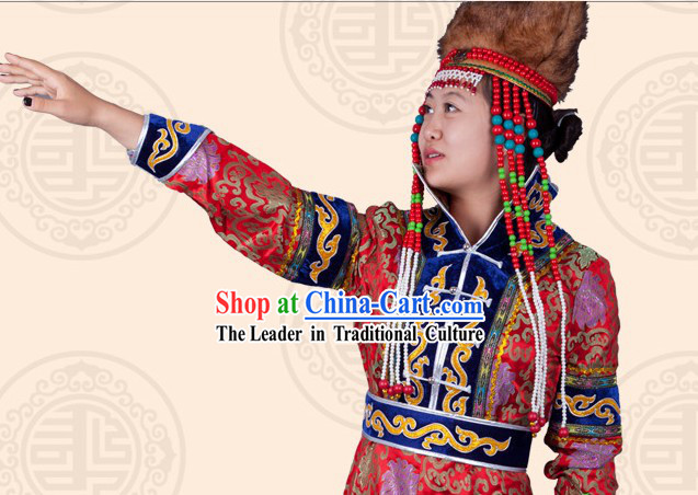 Traditional Chinese Ethnic Mongolian Long Robe and Hat for Women